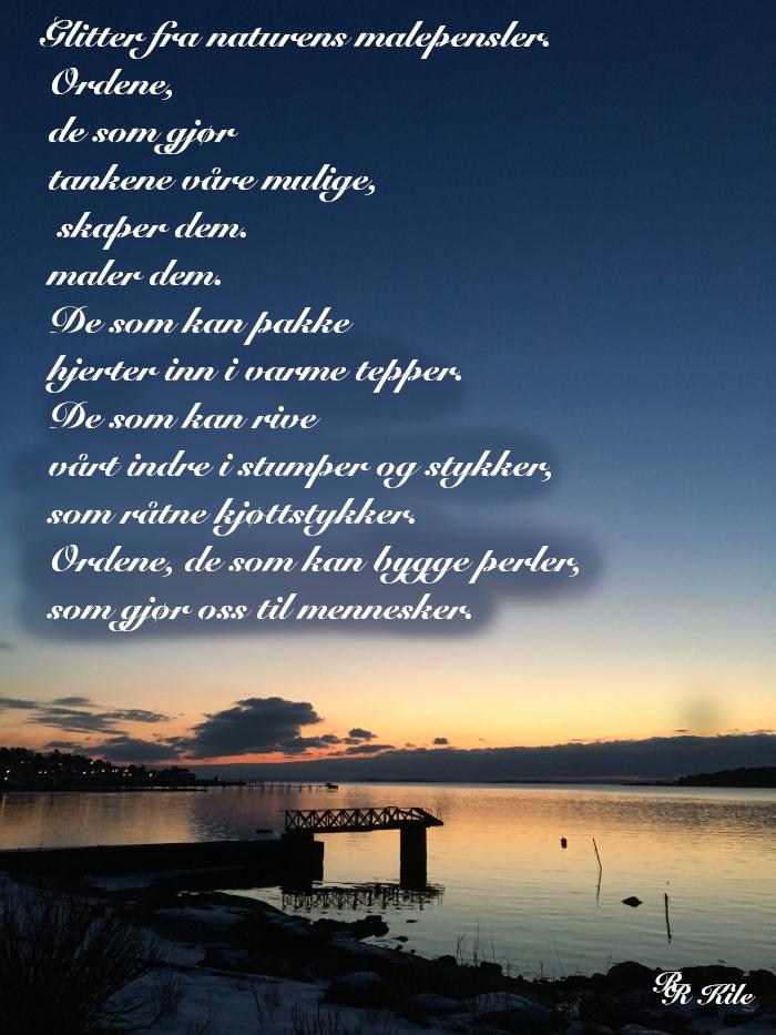 Lyrikk og ordlek, glitter fra naturens malepensler,  tårer som gråtes i dype slukter, våren drømmer sine barn, livets smykkesteiner, vers, dikt, poesi, forfatter R.R. Kile.