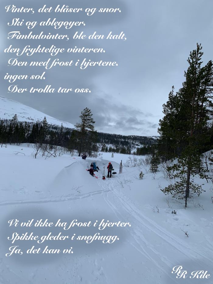 vinter, det blåser og snør, Ikke spytt i andres nakke, å drømme fred, Kjærligheten, den evge, i stille vind,å kaste anker blant moreller og stjernehus,  dikt, lyrikk, forfatter R.R. Kile