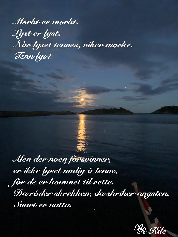 Vers,  poesi,  poem, lyrikk, verselinjer,  versemål,  ordlek. rekke ut hender til hverandre under en stormfyllt himmel, jorda vår må ånde i grønt, jordas smykker under sola. Tenn lys!  Forfatter R.R. Kile,
