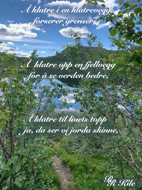 Å klatre i en klatrevegg, alle blomster er vakre sammen,  tenk som det faller tørke i regn,  tenk  som hjerner kan duste livet til i en tanke, blomsterbarn har tøyelige røtter, Vers, lyrikk, Forfatter R.R. Kile